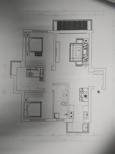 88平 三室二厅一厨一卫