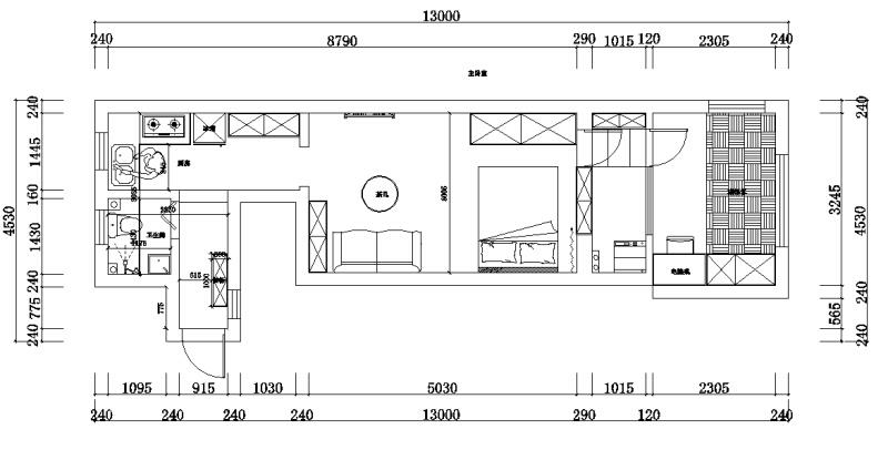46.00㎡ 一室一厅一厨一卫 现代简约