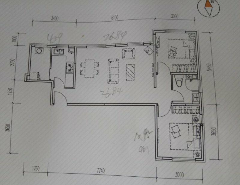 宝隆温泉公寓101.00㎡ 二室一厅一厨一卫