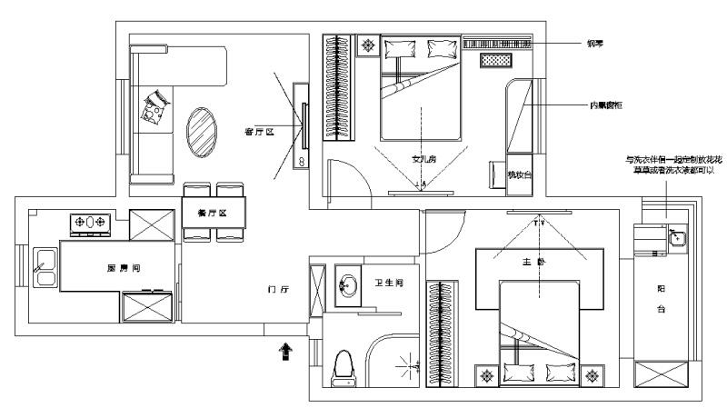 71.00㎡ 二室一厅一厨一卫 现代简约