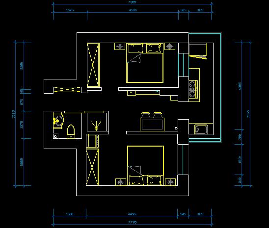 39平 二室一厅一厨一卫